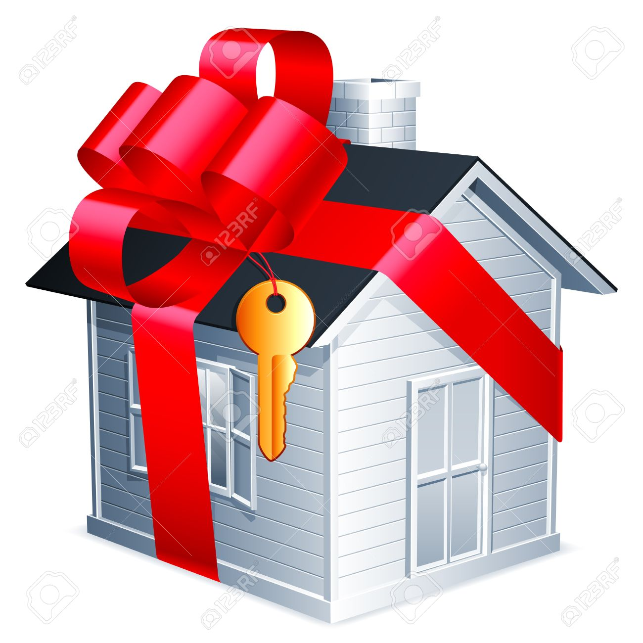 Little house with red ribbon and golden key. Stock Vector - 13911730