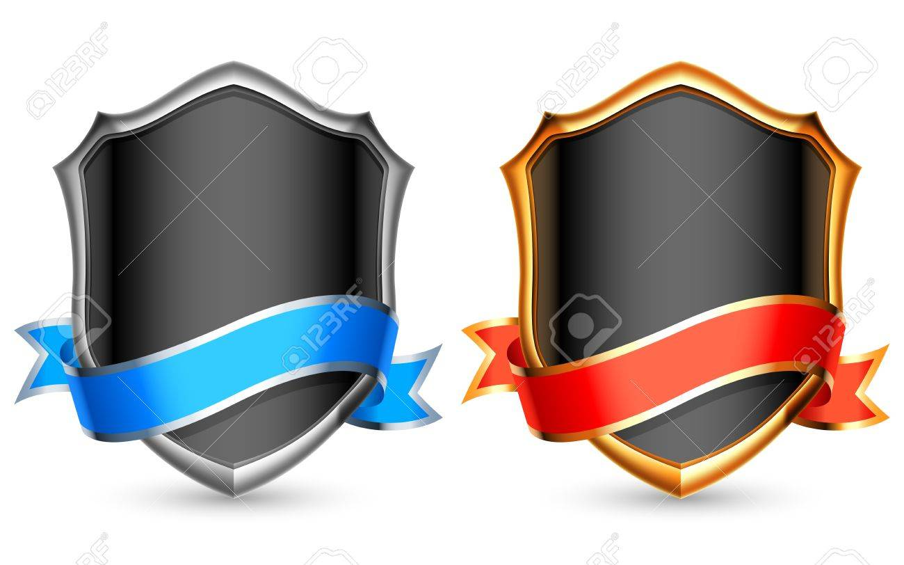 Silver and golden shields with ribbons. Stock Vector - 15266414
