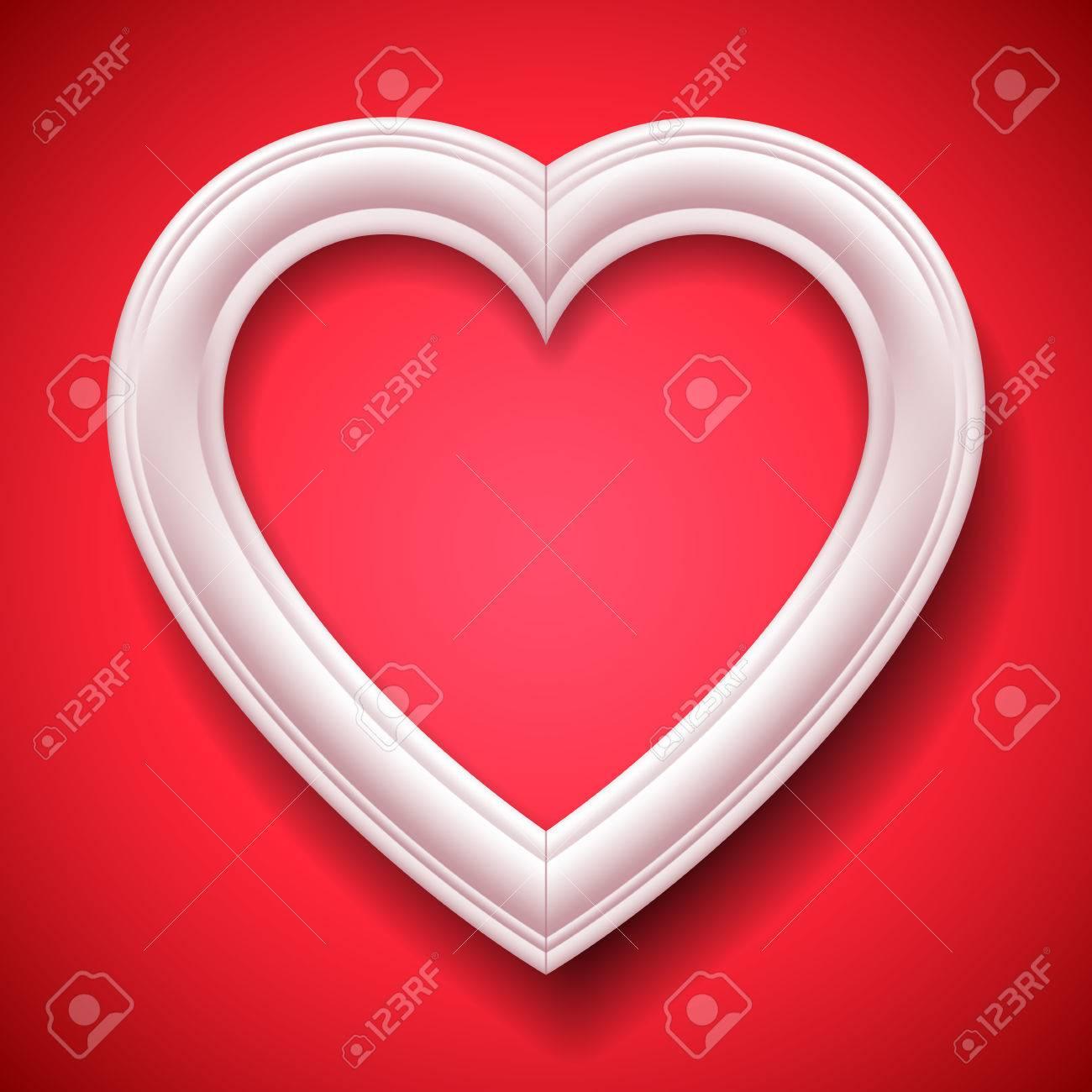 Weiß Herzförmigen Bilderrahmen Auf Rotem Hintergrund Lizenzfrei ...