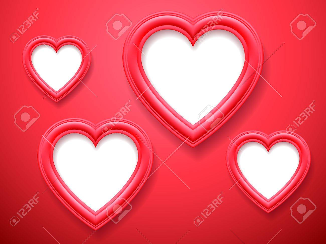blank heart shaped picture frames on red background stock vector 35357465