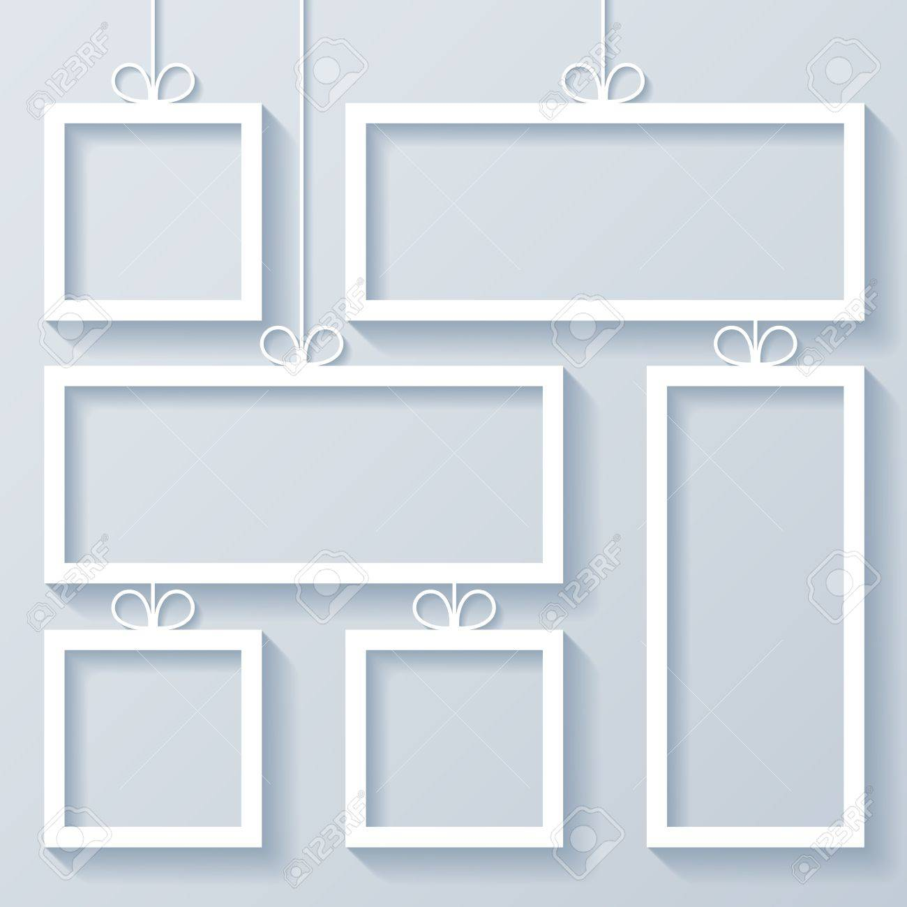 Group Of White Frames With Bow On White Background Royalty Free ...