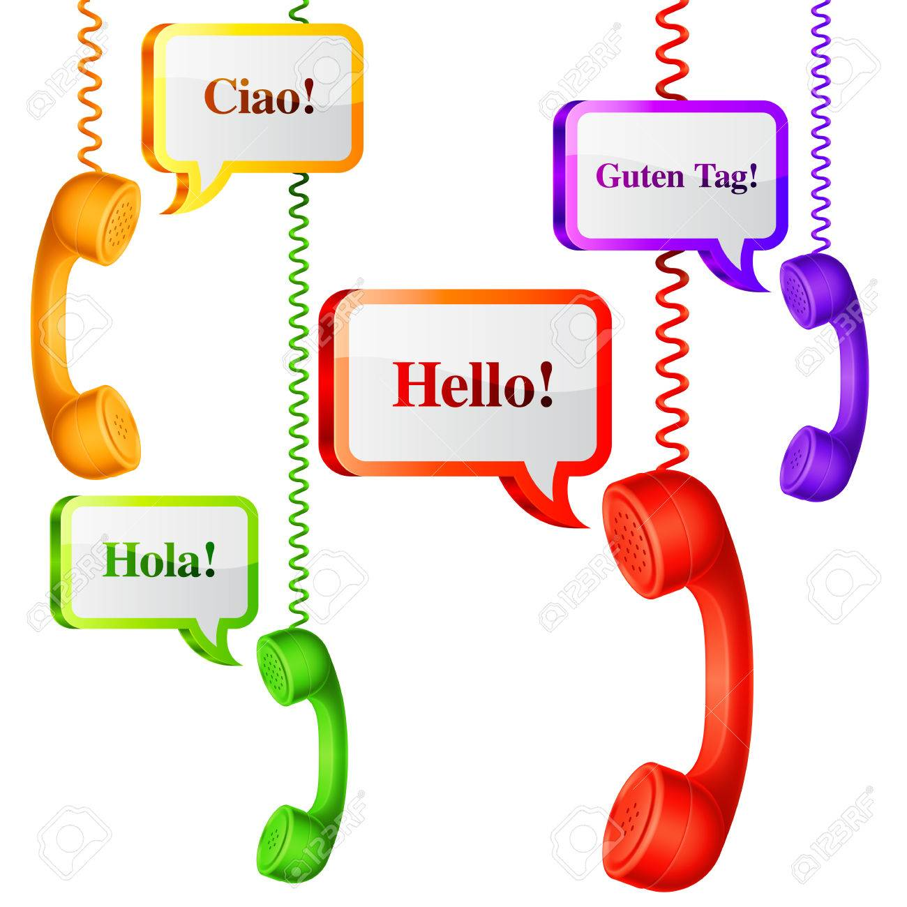 Phone Handset With Hello Speech Bubbles In Different Languages