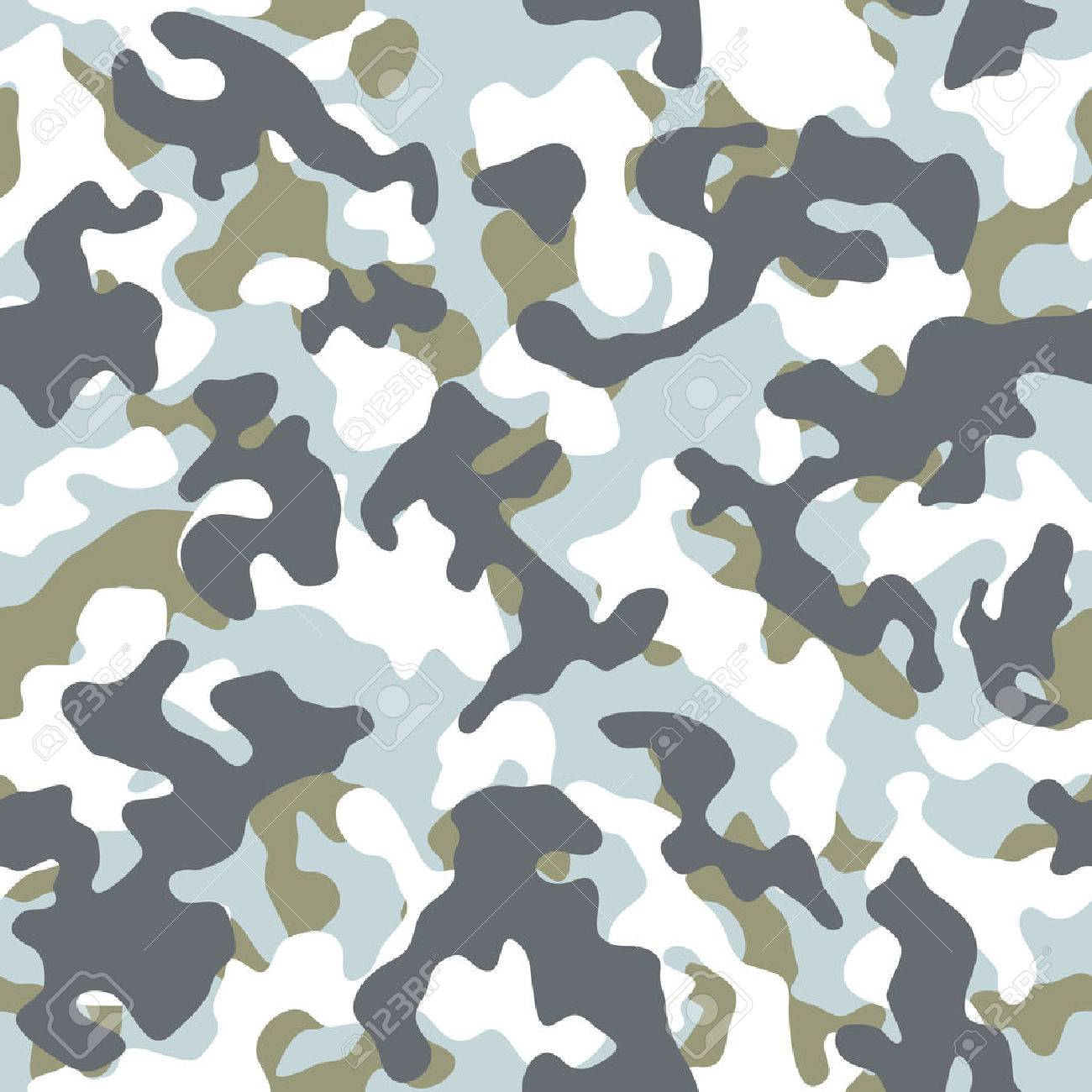 Vector Illustration Of Snow Winter Camouflage Seamless Pattern Stock