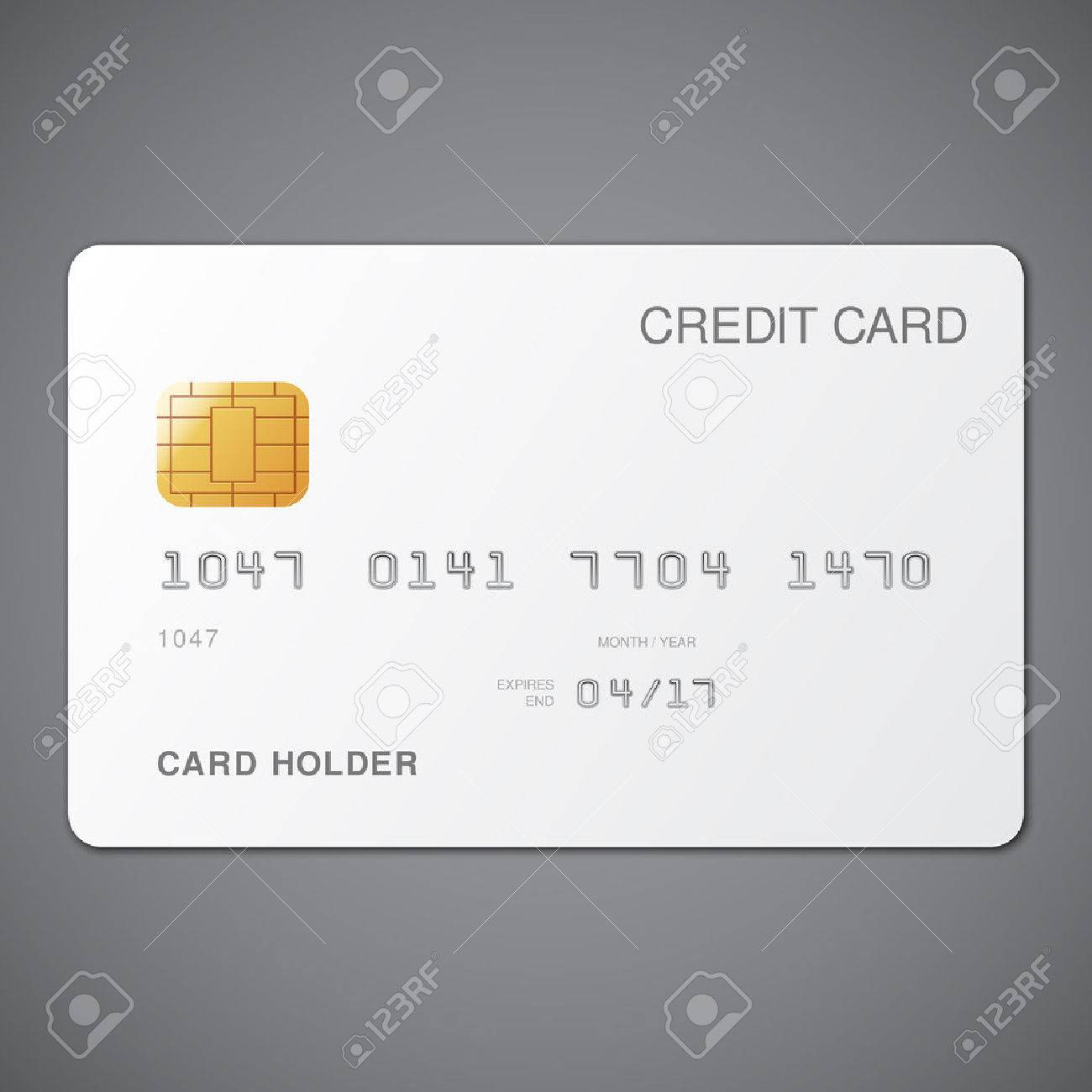 White Credit Card Template On Grey Background Royalty Free Cliparts - Blank visa credit card template