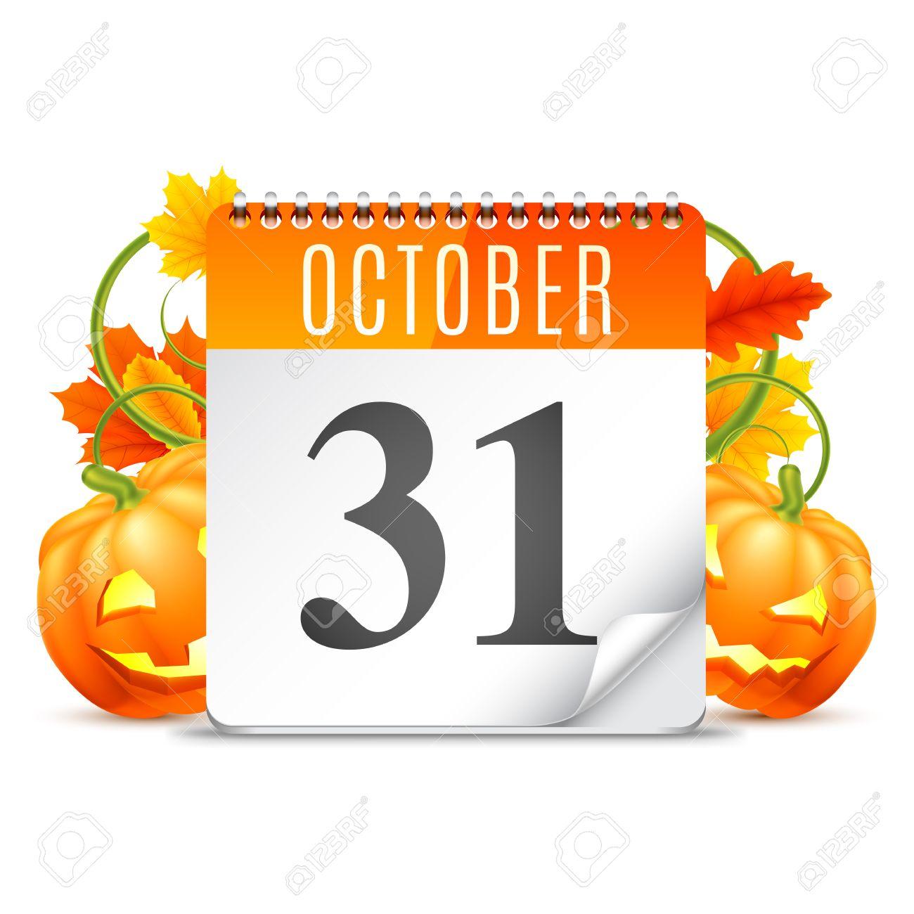 Halloween Calendar With October 31 Date, Pumpkins And Autumn ...