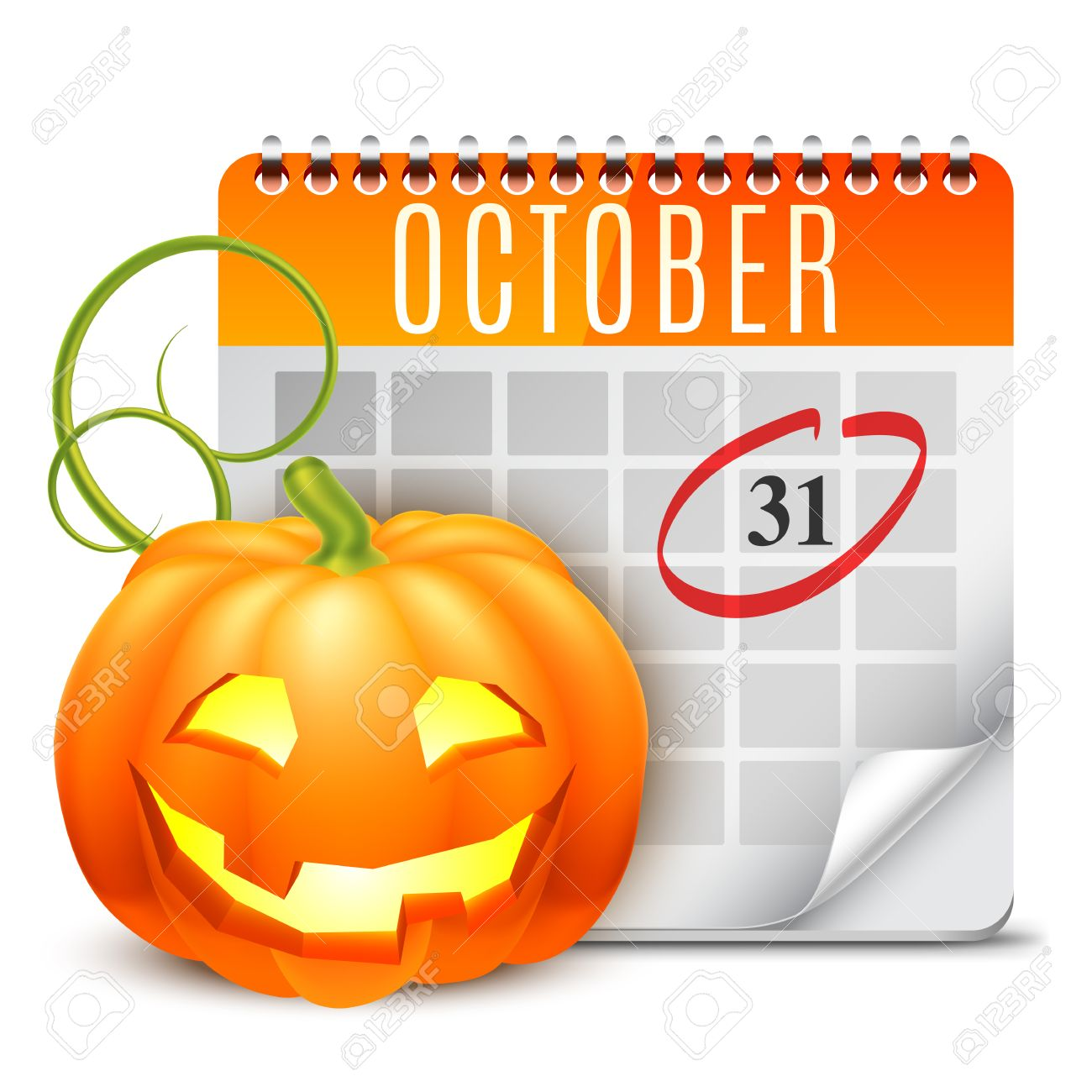 Halloween Calendar With October 31 Date And Pumpkin Royalty Free ...