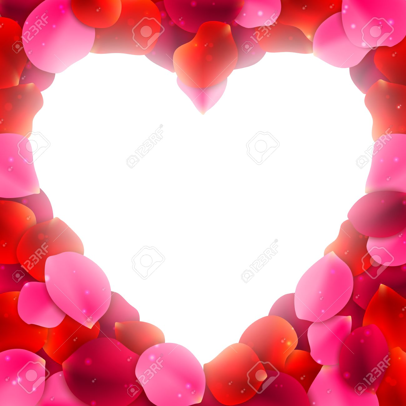 Heart Shaped Frame Or Border Made Of Red And Pink Rose Flower ...