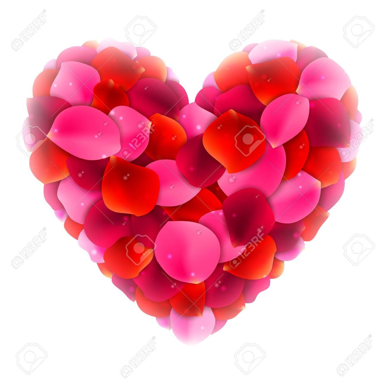 Corazón Hecho De Rojo Y Rosa Rosa Pétalos De Flores