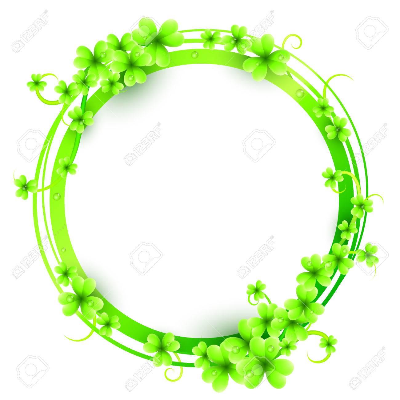 St. Patricks Tag Rahmen Mit Grünen Kleeblättern Verziert Lizenzfrei ...
