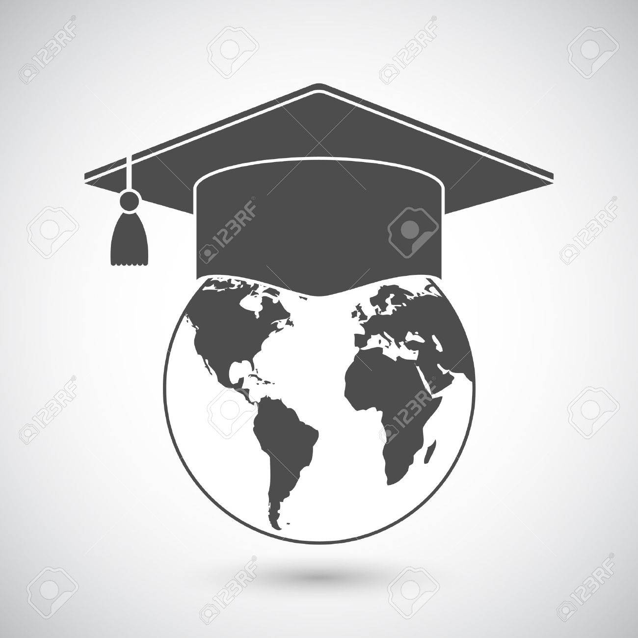 Graduation Cap Or Mortar Board On Top Of World Globe. Vector ...