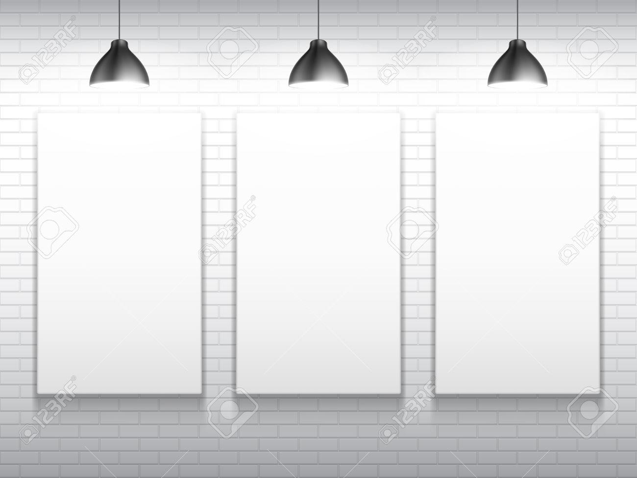 Three Blank White Poster Frames Inside Gallery Interior. Poster ...