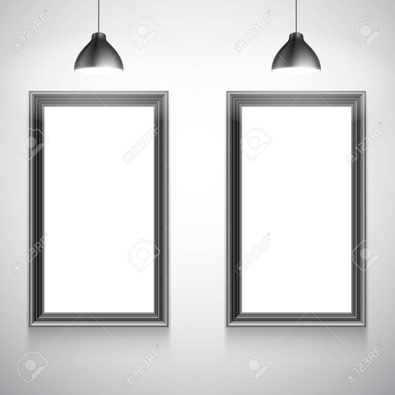 Dos Marcos En Blanco De Carteles Blancos Dentro De La Galería ...