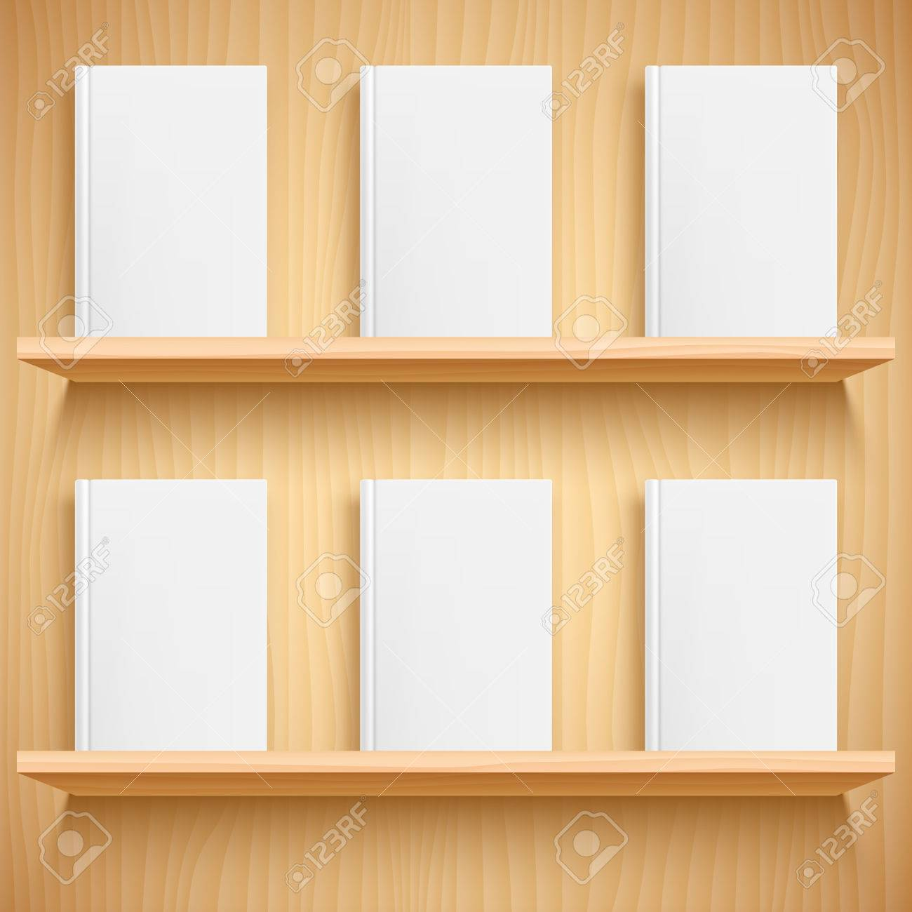 Two Wooden Bookshelves And Books With Empty Blank Covers White Object Mock Up Or