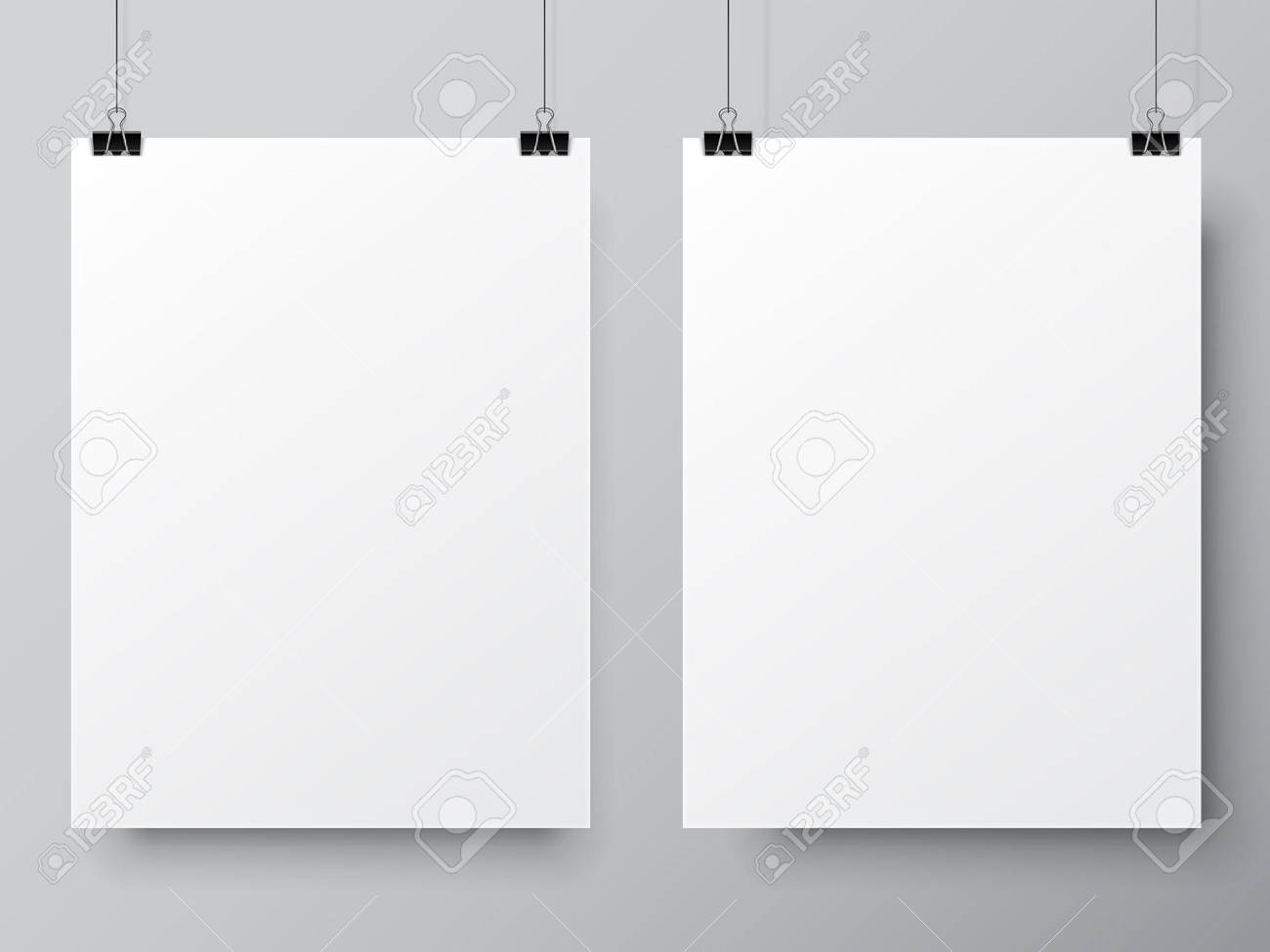 two blank white paper lists hanging on pins poster mock up template