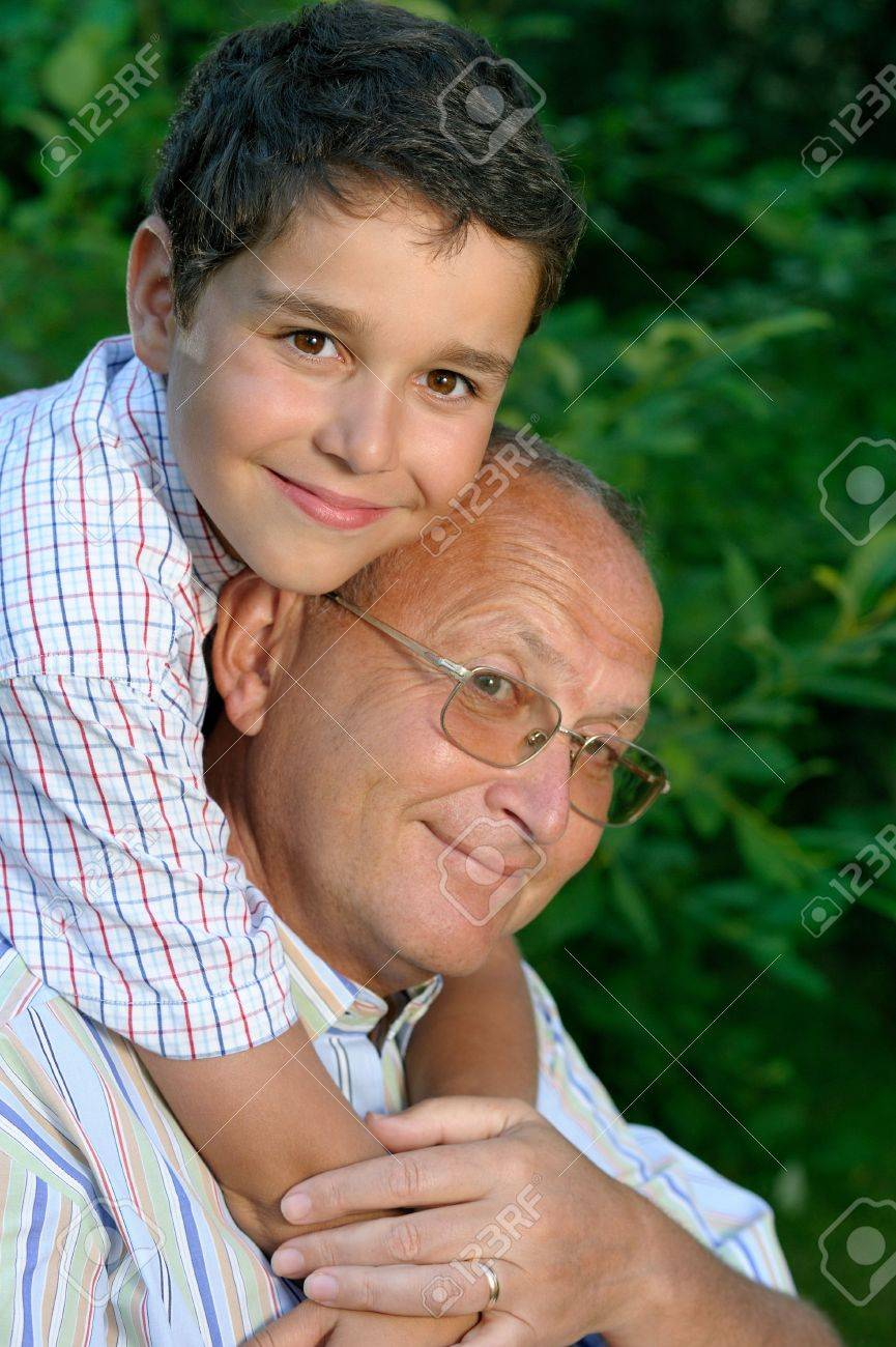 Happy grandfather and kid outdoors Stock Photo - 5035508
