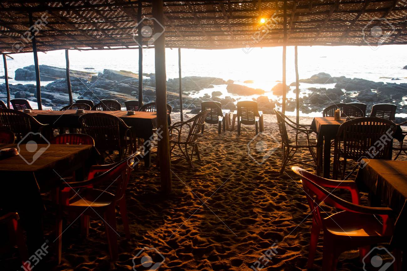 Cafe On The Beach At Sunset In Goa India Near Of Arambol