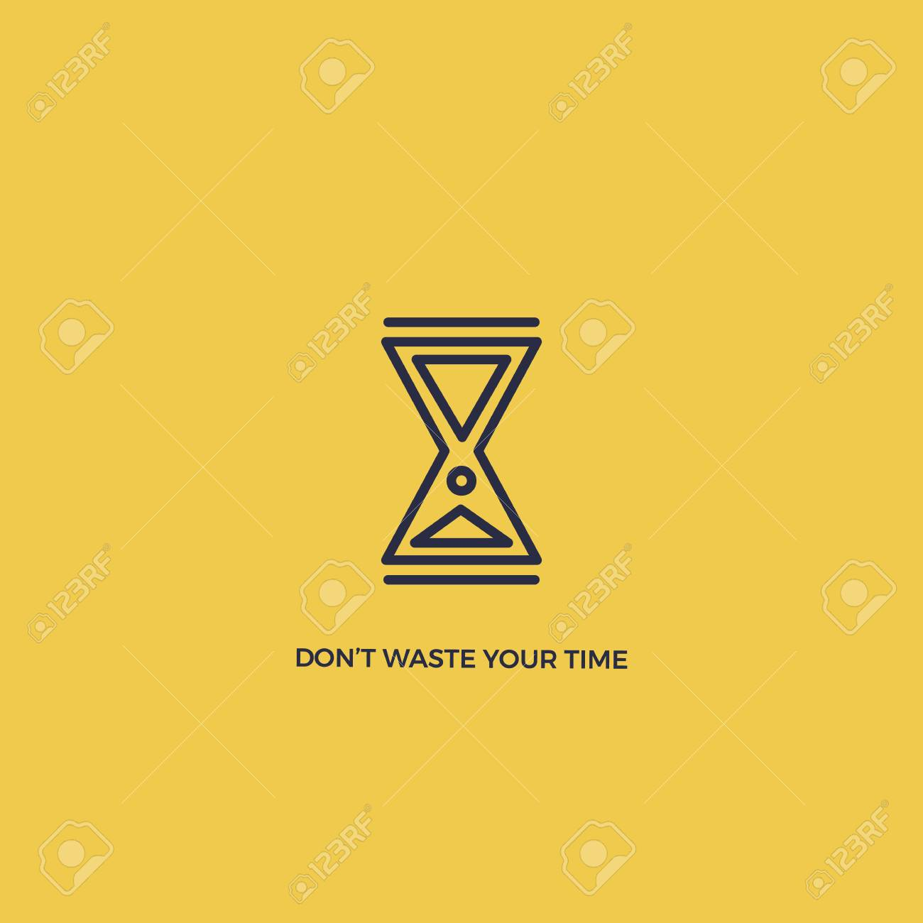 ed6474cd1b7 Do not waste your time vector poster. Minimalism with Hourglass Stock  Vector - 95088091