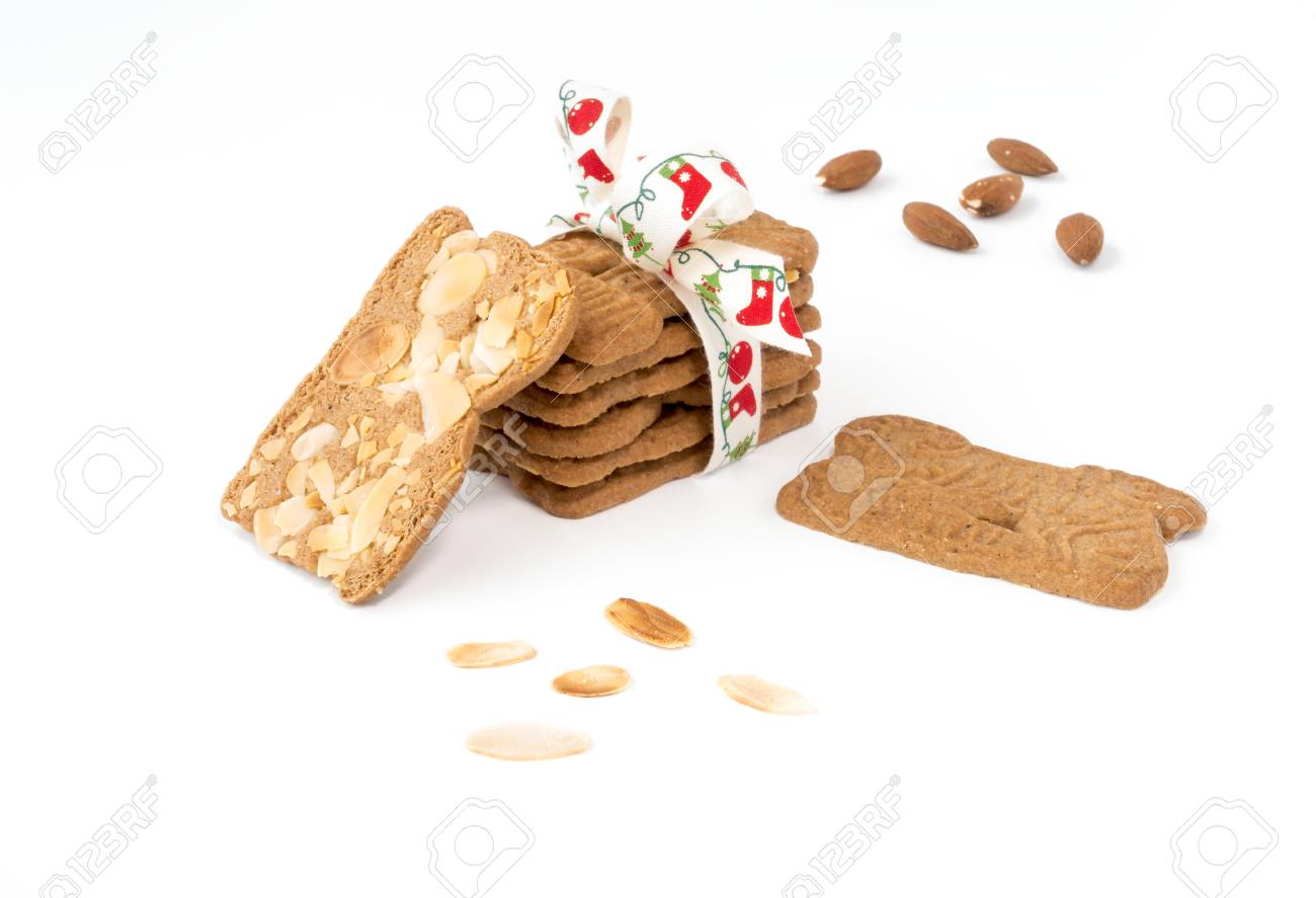 Closeup Of A Stack Of Spiced Biscuits With Almonds Spekulatius