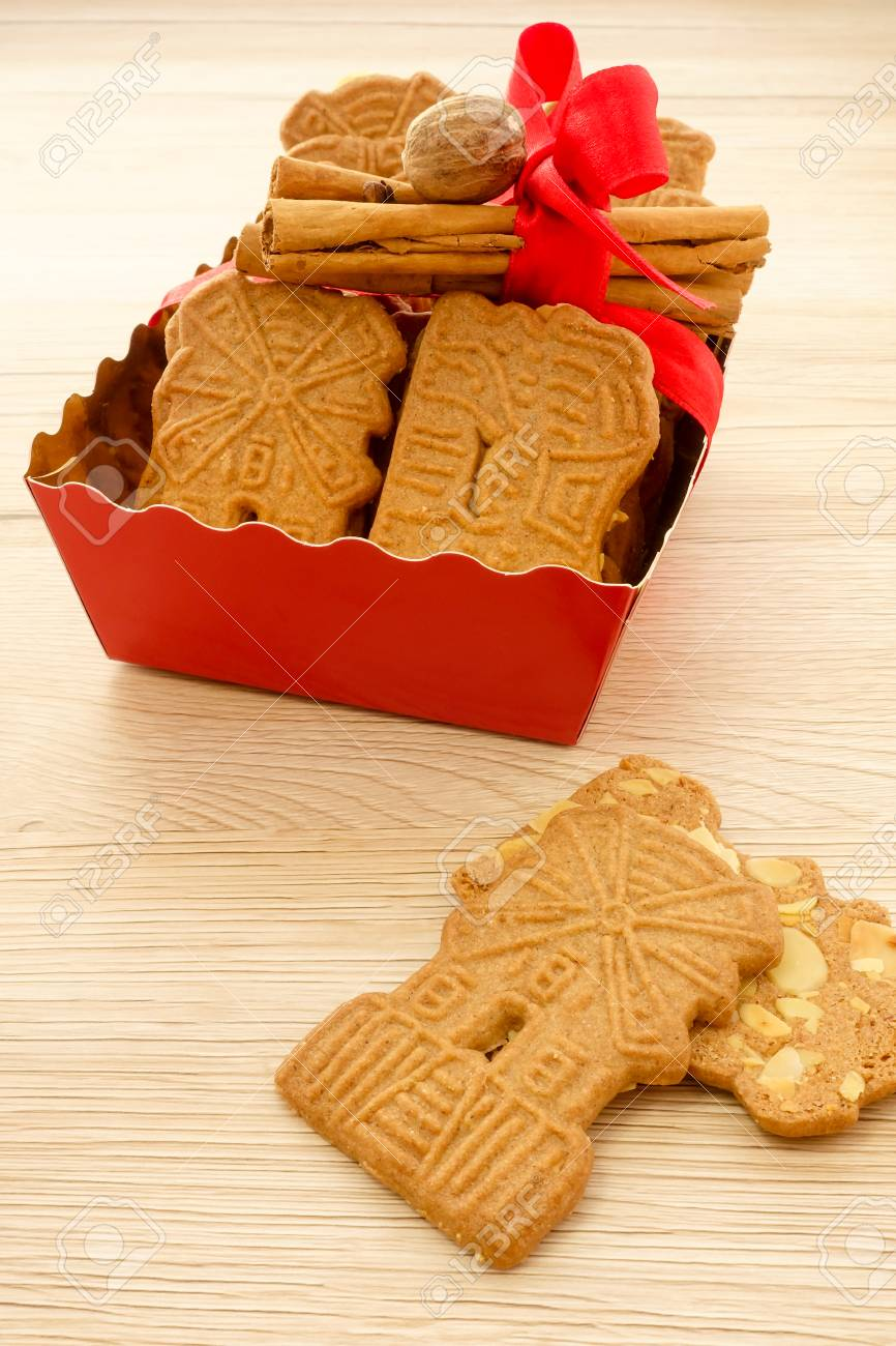 Red Tray Full Of Spiced Biscuits With Almonds Spekulatius Mit