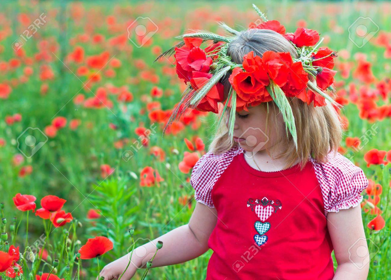 Little girl in a wreath from poppies - 20628152