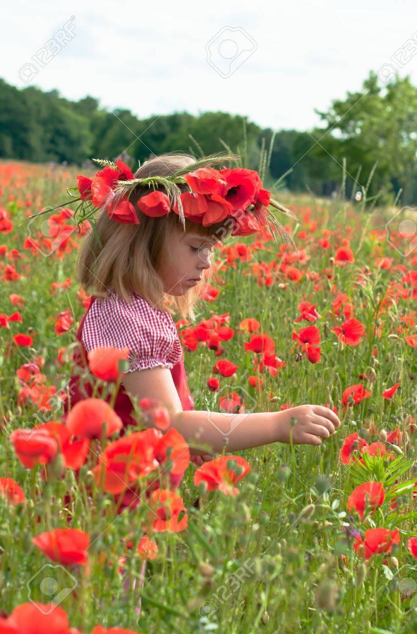 Little girl s portrait in poppies - 20628950