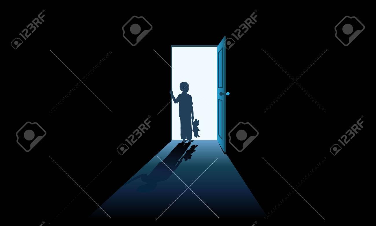 Kid opening mystery door Stock Vector - 35233287 & Kid Opening Mystery Door Royalty Free Cliparts Vectors And Stock ...