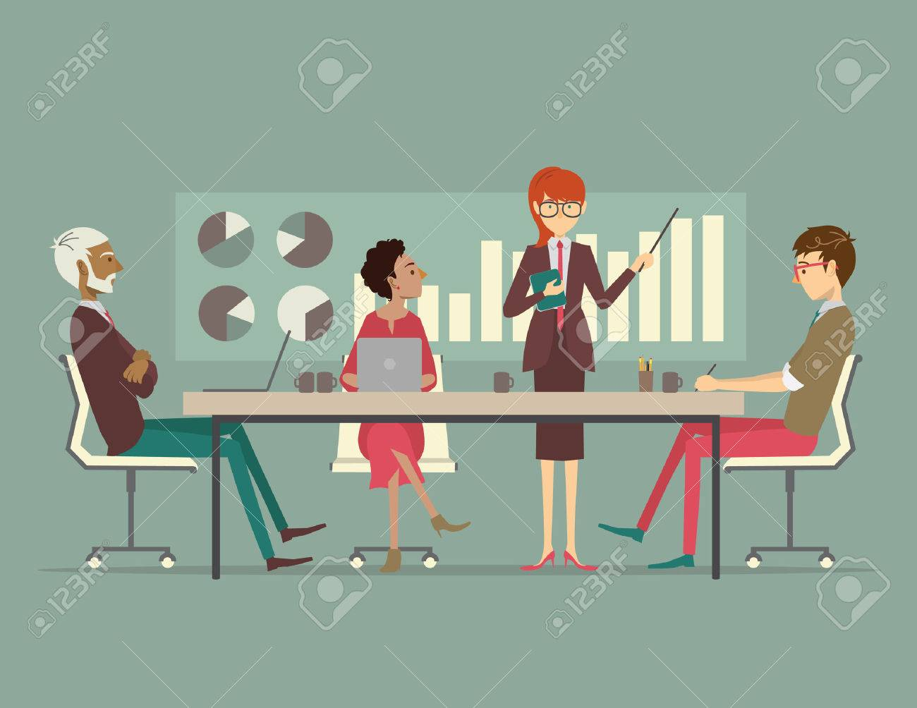 A group of coworkers gathered around a conference table listening to a presentation from a business man. - 37158065