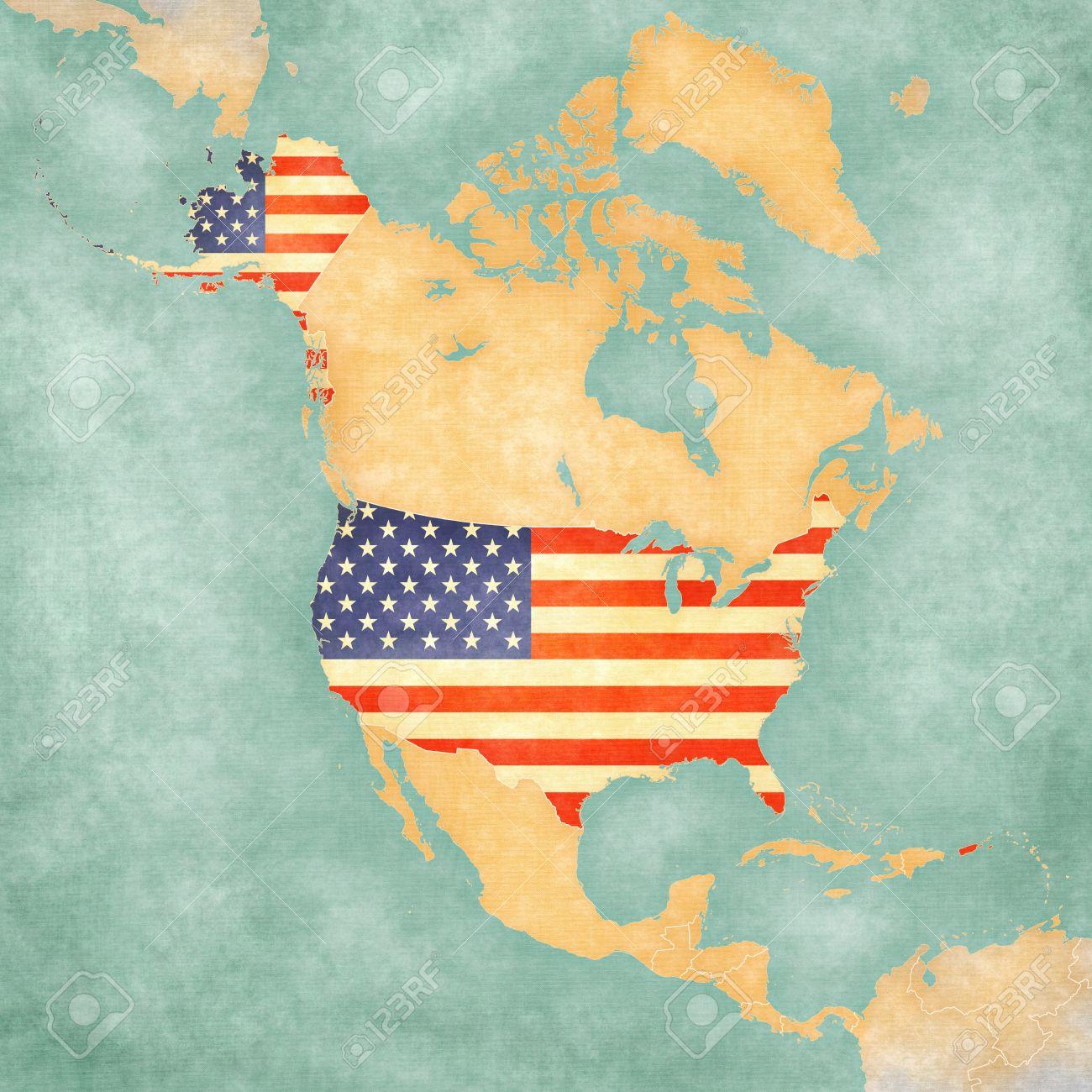Usa Cartina Muta.Immagini Stock Stati Uniti D America Bandiera Americana Sulla Cartina Muta Del Nord America La Mappa E In Stile Estivo D Epoca E L Umore Di Sole La Mappa Ha Un Grunge Morbido E