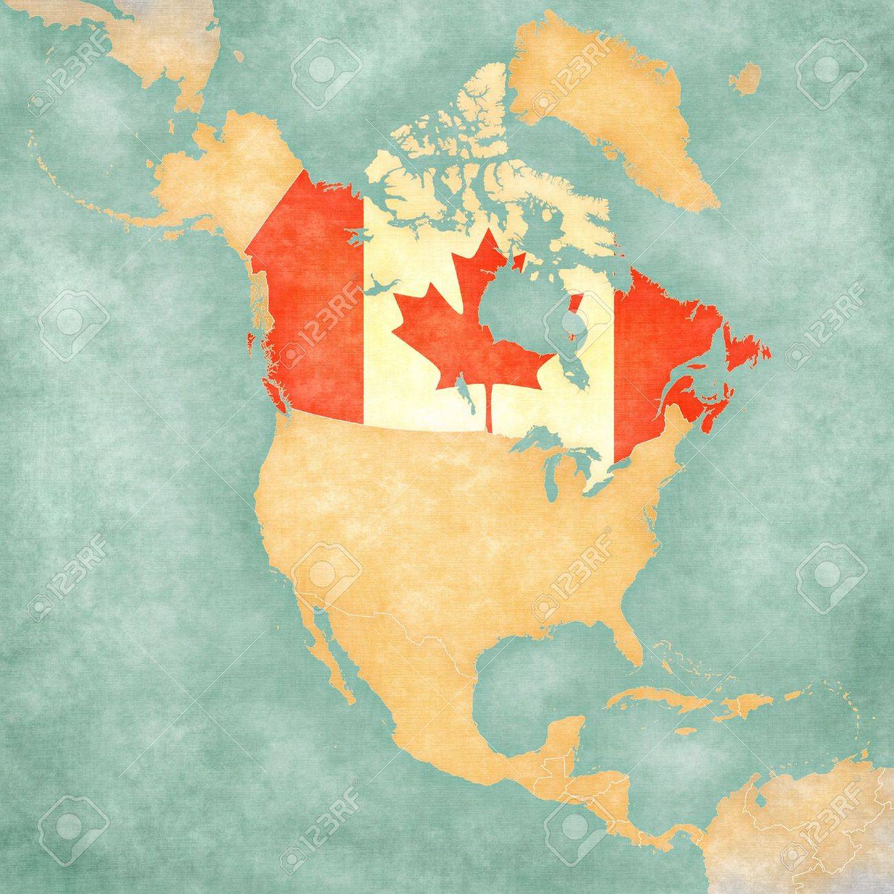 Canada Canadian flag on the outline map of North America The..