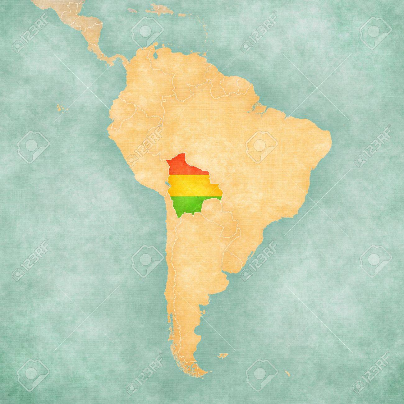 Bolivia Bolivian Flag On The Map Of South America The Map Stock - South america map and flags