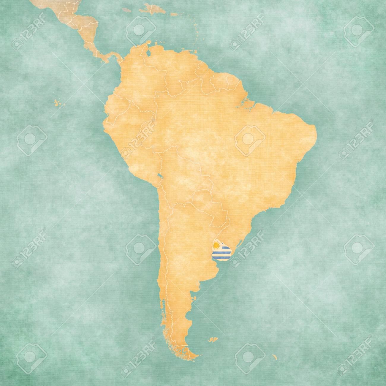 Carte Amerique Latine Uruguay.Uruguay Uruguayen Drapeau Sur La Carte De L Amerique Du Sud La Carte