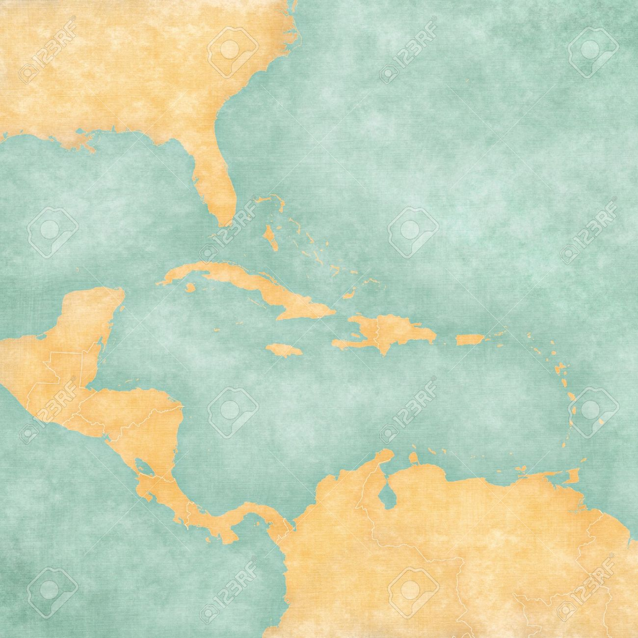 Blank Map Of Caribbean And Central America The Map Is In Vintage ...