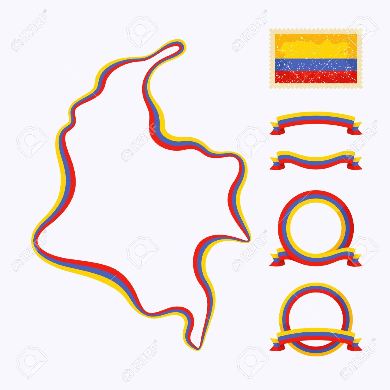 Outline map of Colombia  Border is marked with a ribbon in the national colors Stock Vector - 22062852