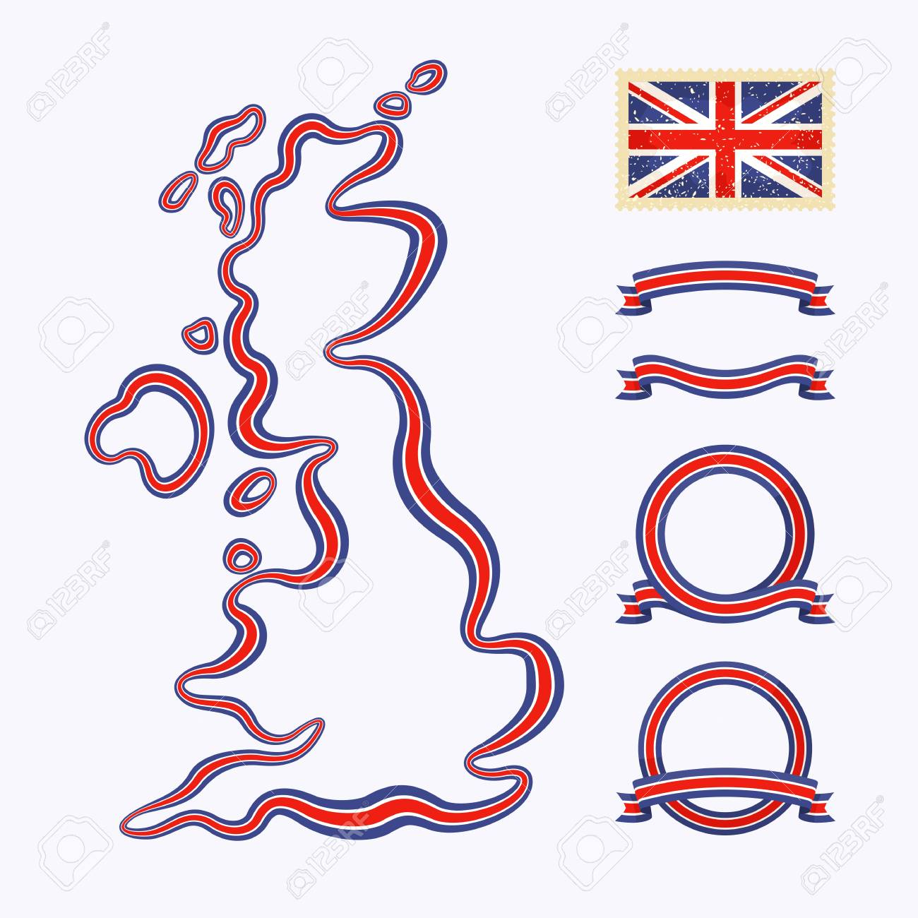 Outline map of United Kingdom  Border is marked with a ribbon in the national colors Stock Vector - 22062869