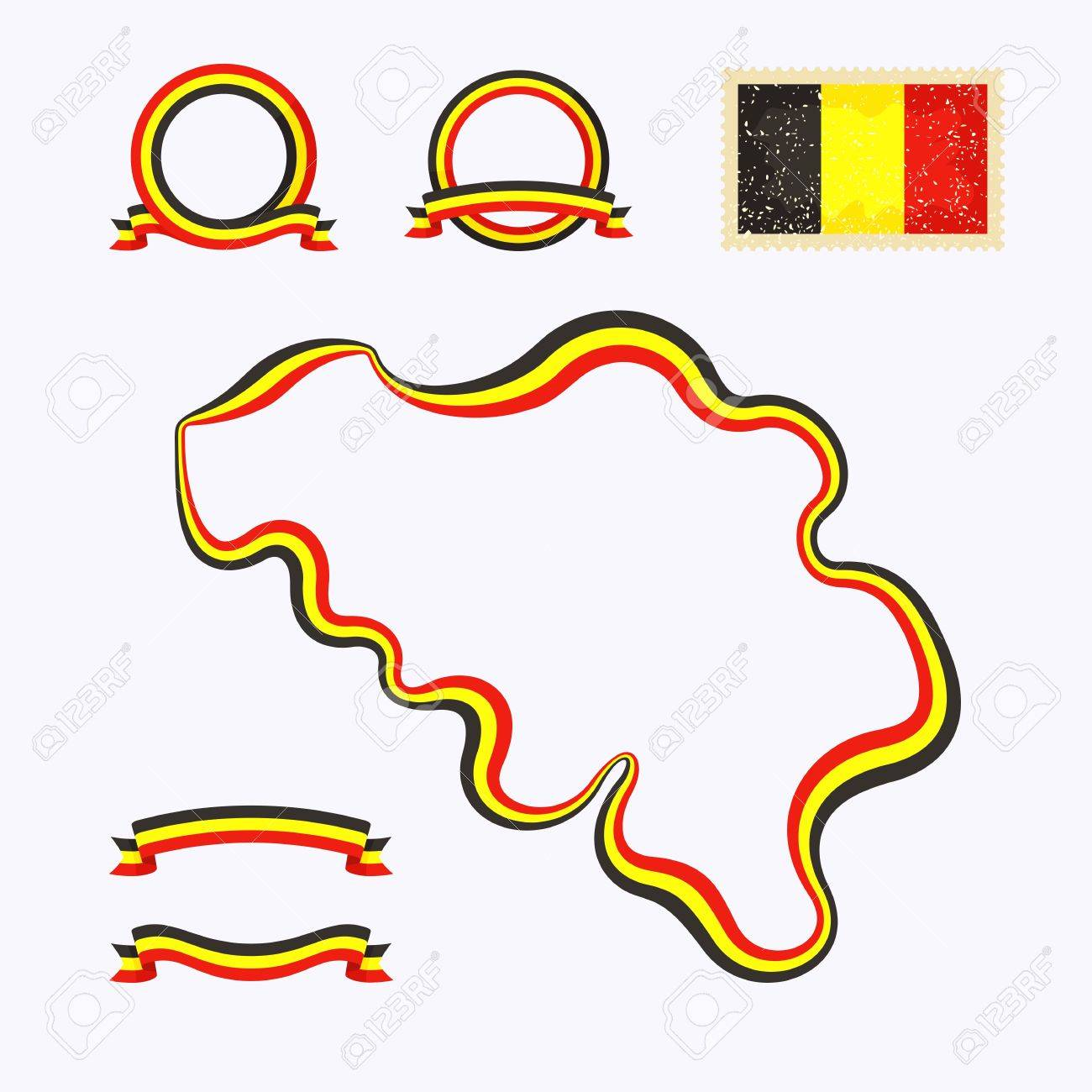 Outline map of Belgium  Border is marked with a ribbon in the national colors  The package contains a stamp with flag and frames  The file is made with no transparencies and gradients Stock Vector - 23089522