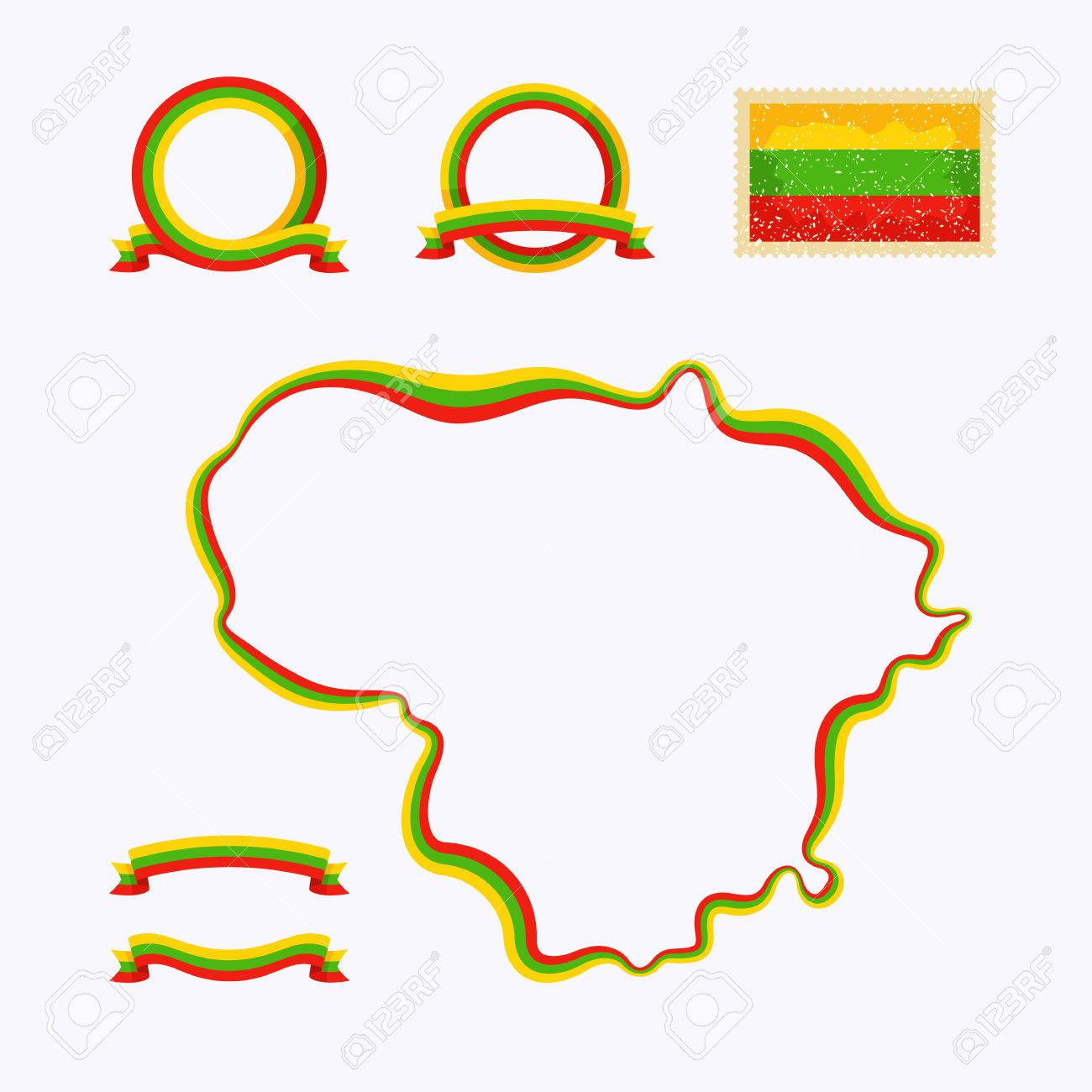 Outline Map Of Lithuania Border Is Marked With A Ribbon In The - Lithuania map vector