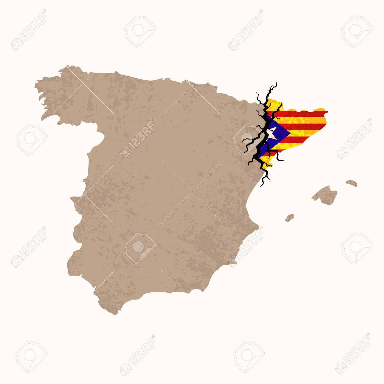 Outline Map Of Spain And Catalonia With Black Crack Illustration