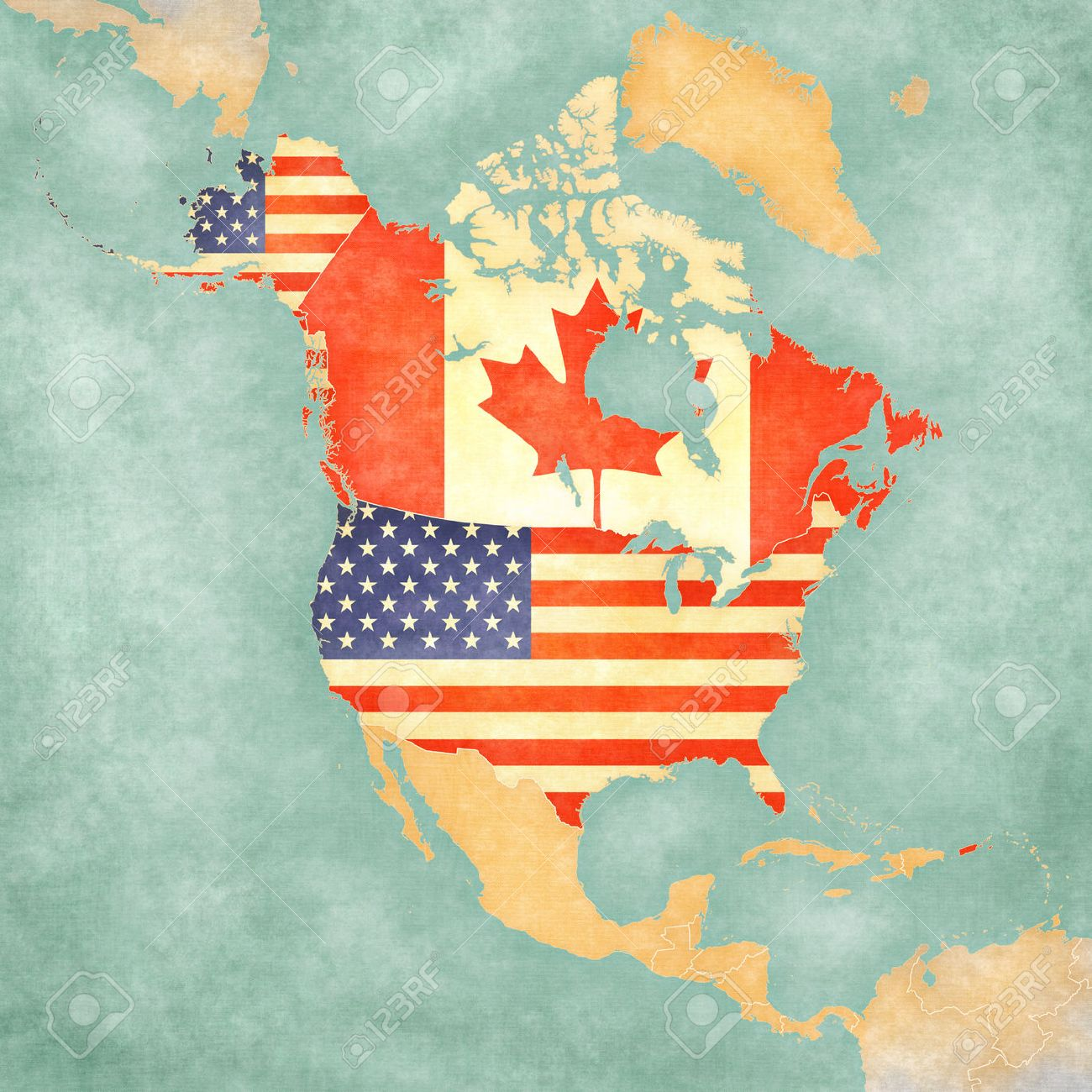 USA and Canada on the outline map of North America. The Map is..