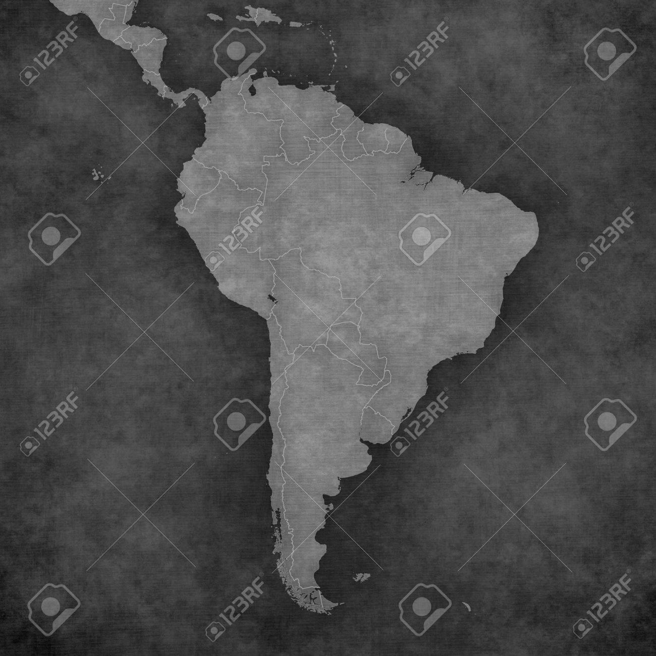 Carte Vierge De L Amérique Du Sud Avec Les Frontières Des Pays La Carte Est Dans Le Style Noir Et Blanc Vintage La Carte A Grunge Doux Et Rétro