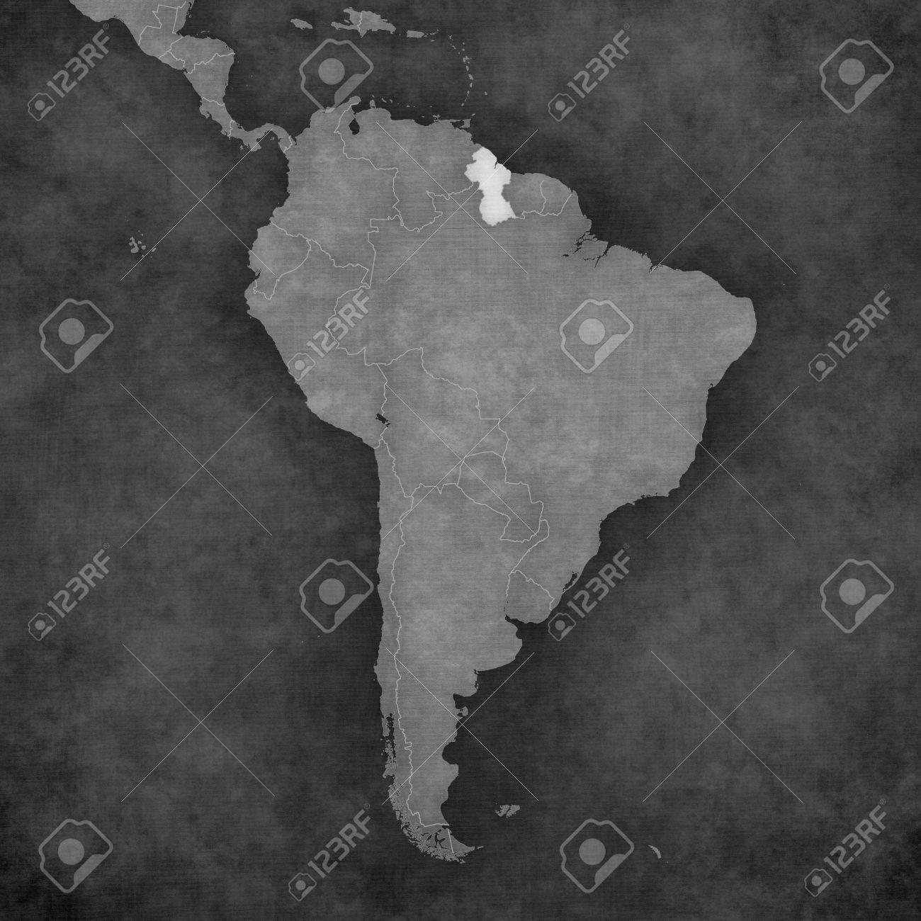 Guyana On The Map Of South America. The Map Is In Vintage Black ...