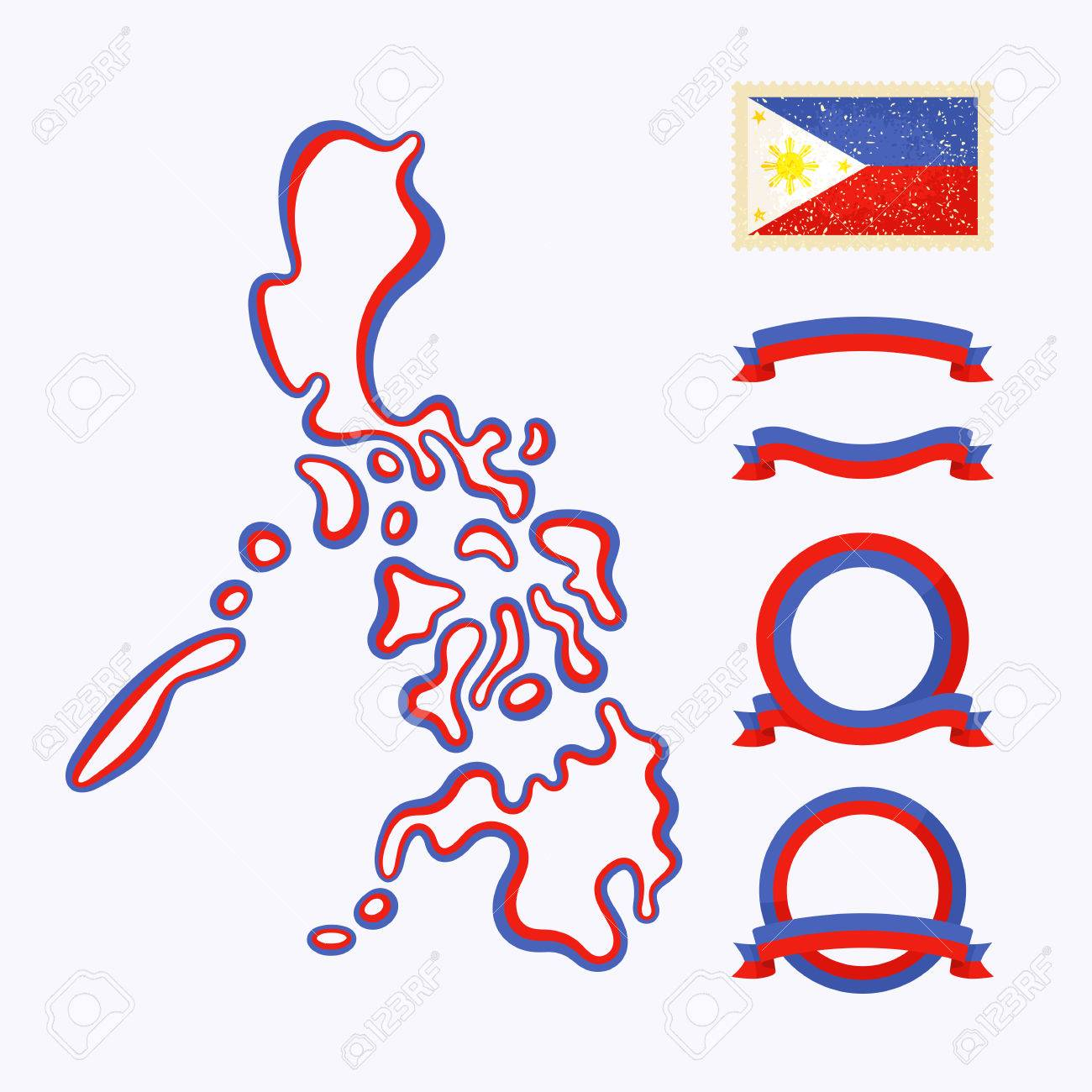 Outline Map Of Philippines Border Is Marked With Ribbon In National - Package of map colors