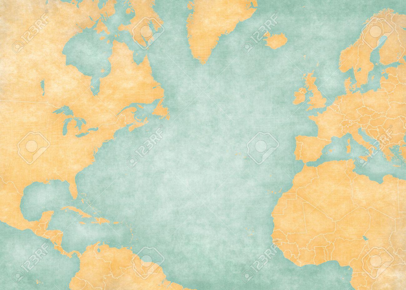 Cartina Muta Dell Europa Con I Confini.Immagini Stock Mappa Muta Di Oceano Atlantico Del Nord Con I Confini Nazionali La Mappa E In Stile Dell Annata Di Estate E L Umore Di Sole La Mappa Ha Grunge Morbido E