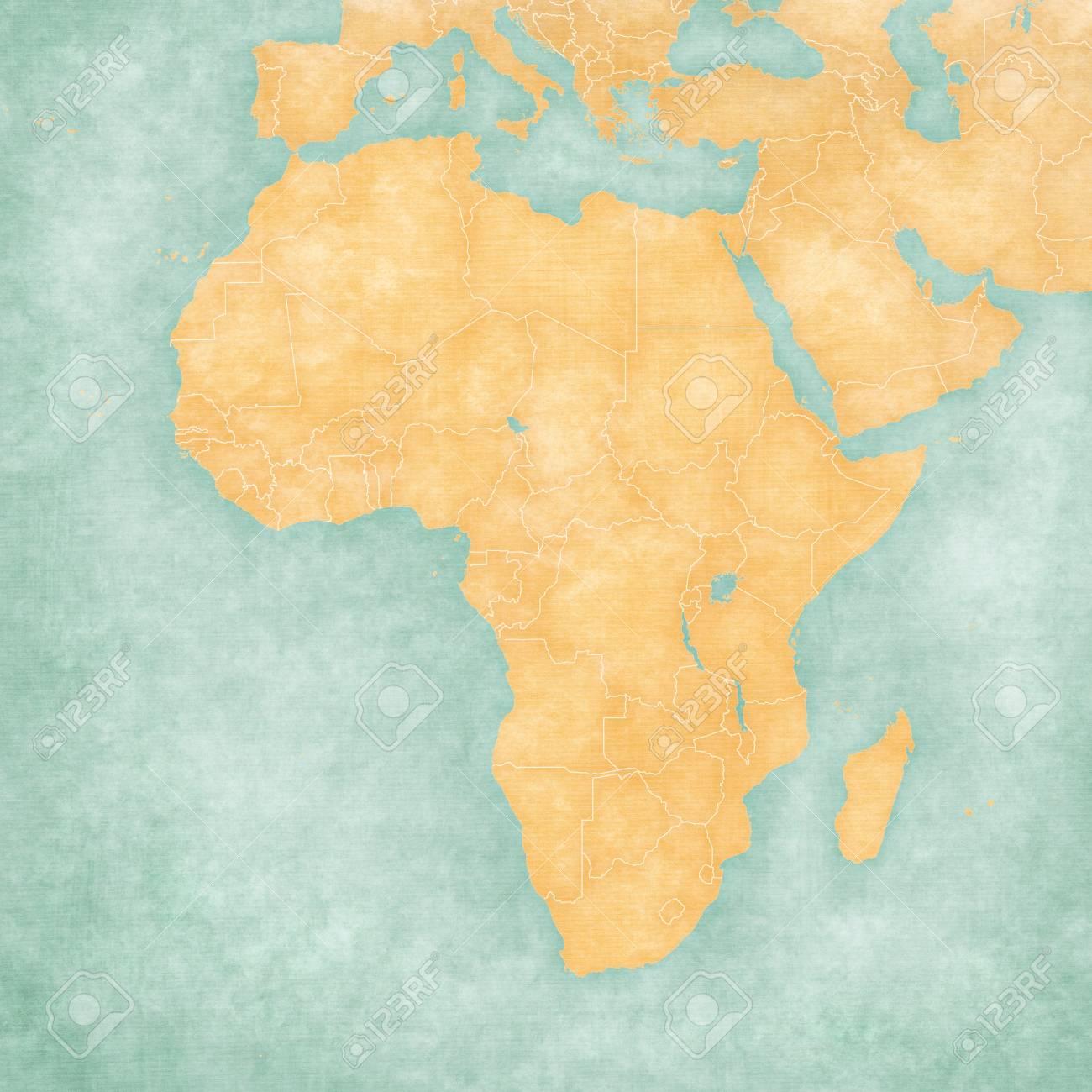 Mappa Muta Di Africa Con I Confini Nazionali La Mappa è In Stile