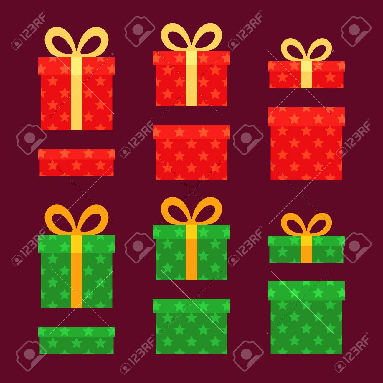 Weihnachten Boxen Für Geschenke Mit Sternen. Rote Und Grüne ...