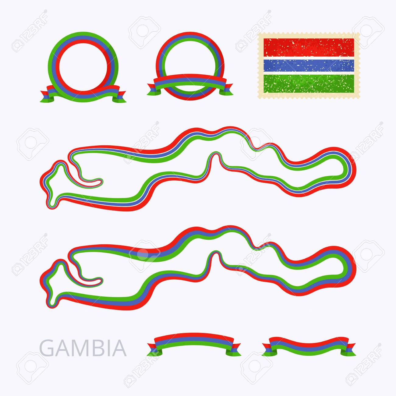 Outline Map Of The Gambia Border Is Marked With Ribbon In National - Package of map colors