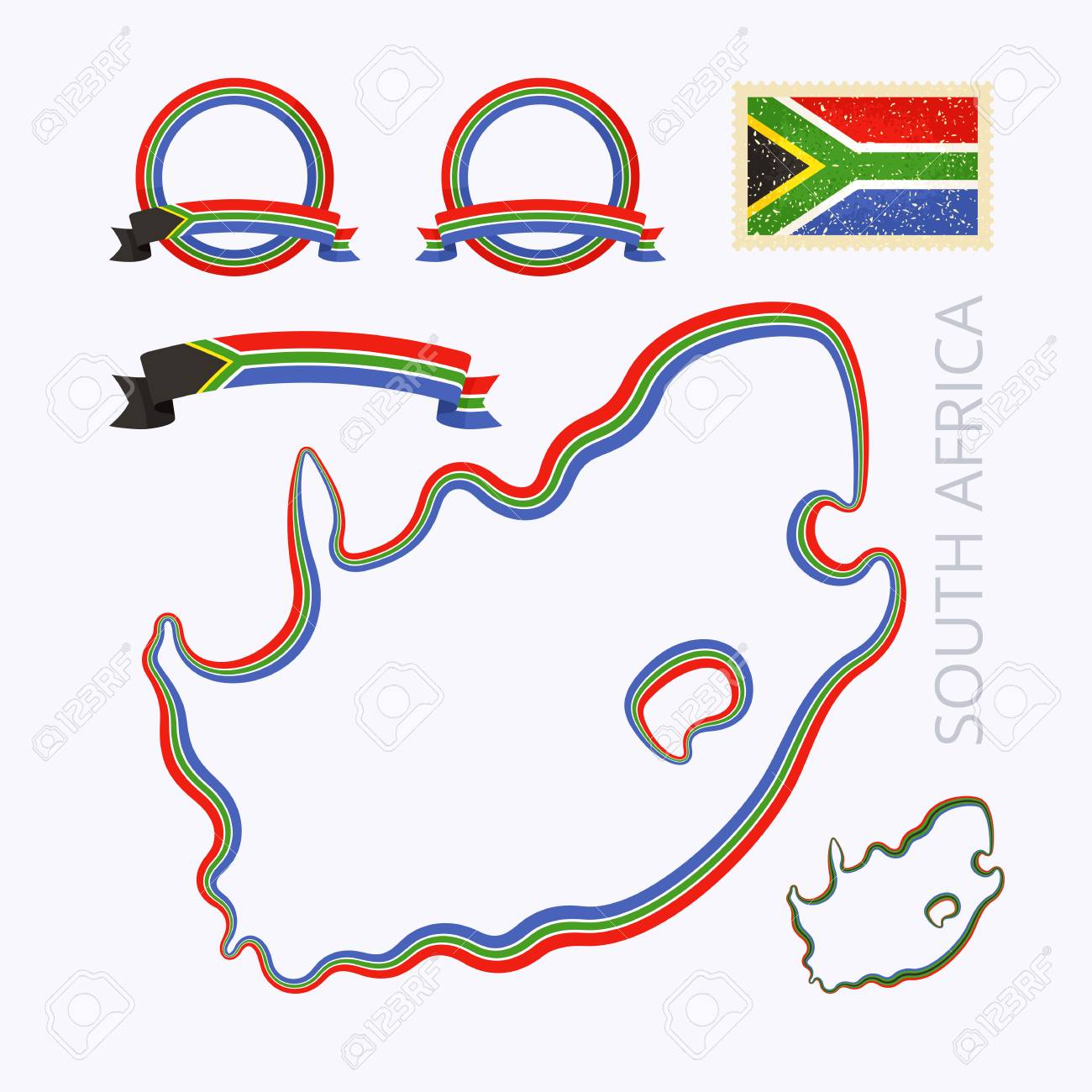 Cartina Muta Del Sudafrica.Vettoriale Schema Mappa Del Sud Africa Confine E Segnato Con Nastro In Colori Nazionali Il Pacchetto Contiene Frame In Colori Nazionali E Timbro Con La Bandiera Image 53803030