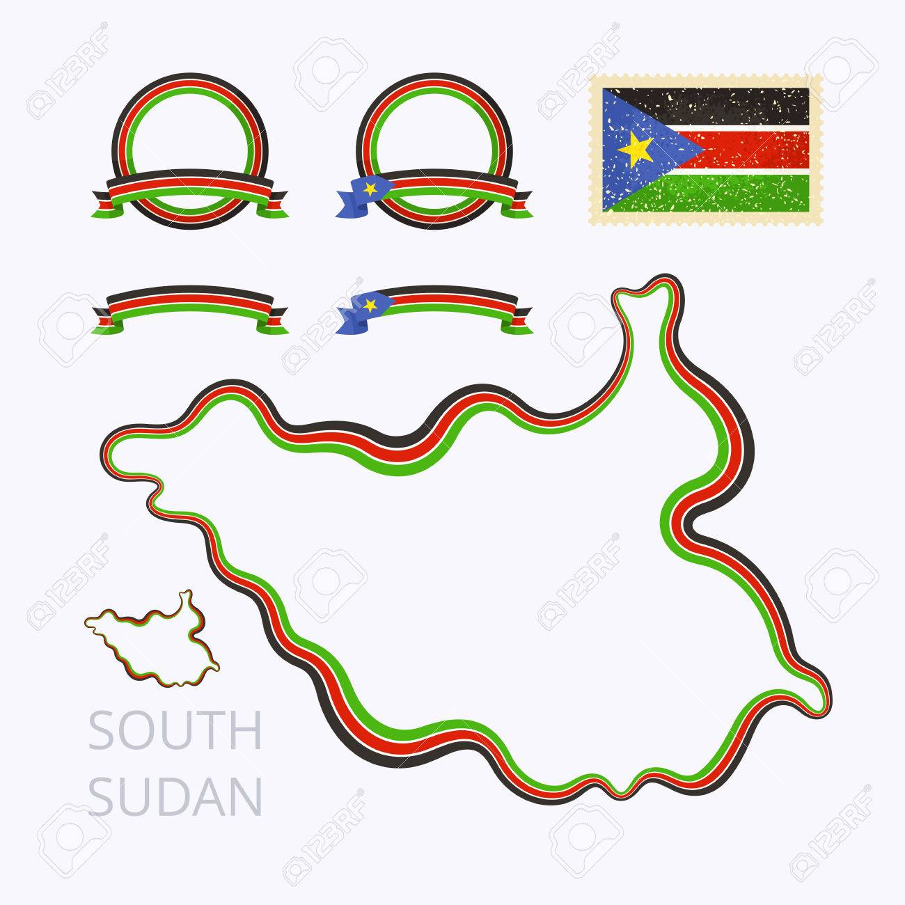 Outline Map Of South Sudan Border Is Marked With Ribbon In National - Package of map colors