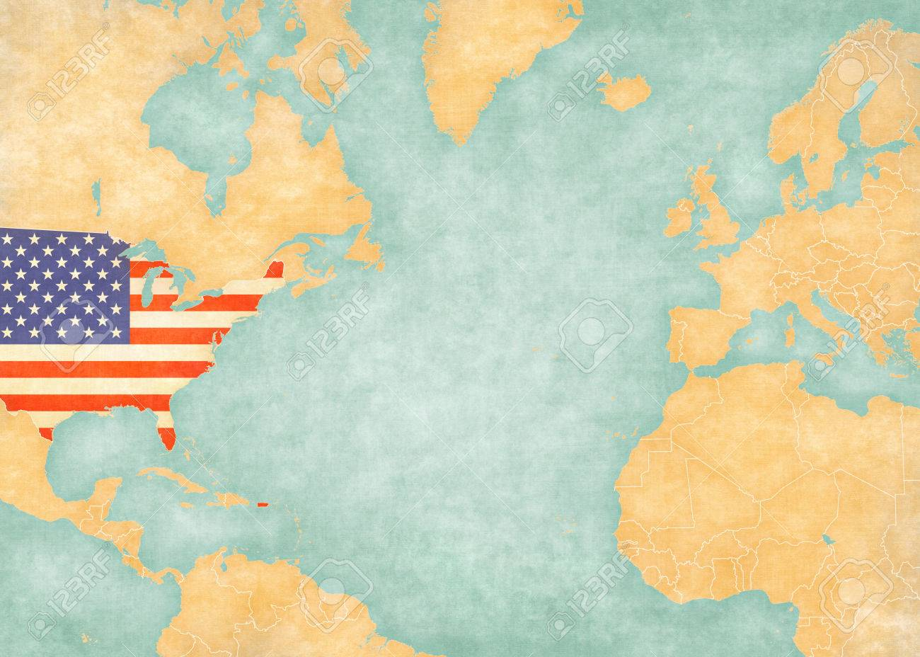 United States US flag on the map of North Atlantic Ocean. The..