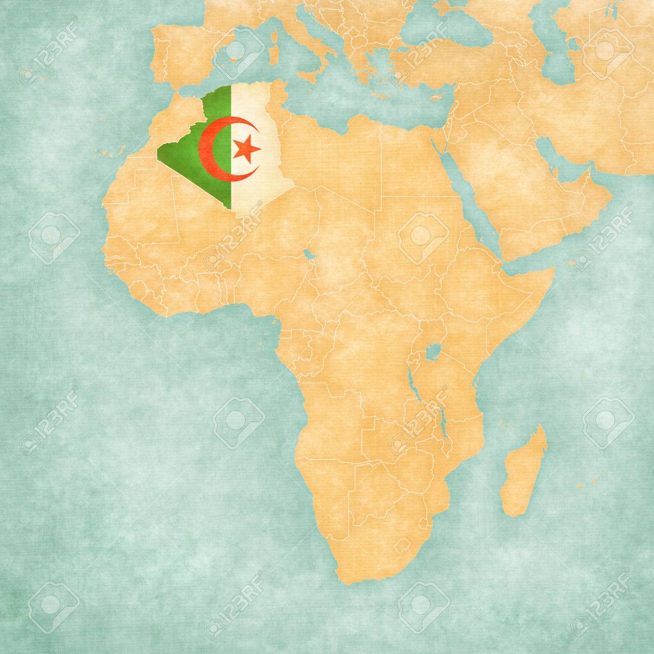 Algeria Algerian Flag On The Map Of Africa The Map Is In Vintage