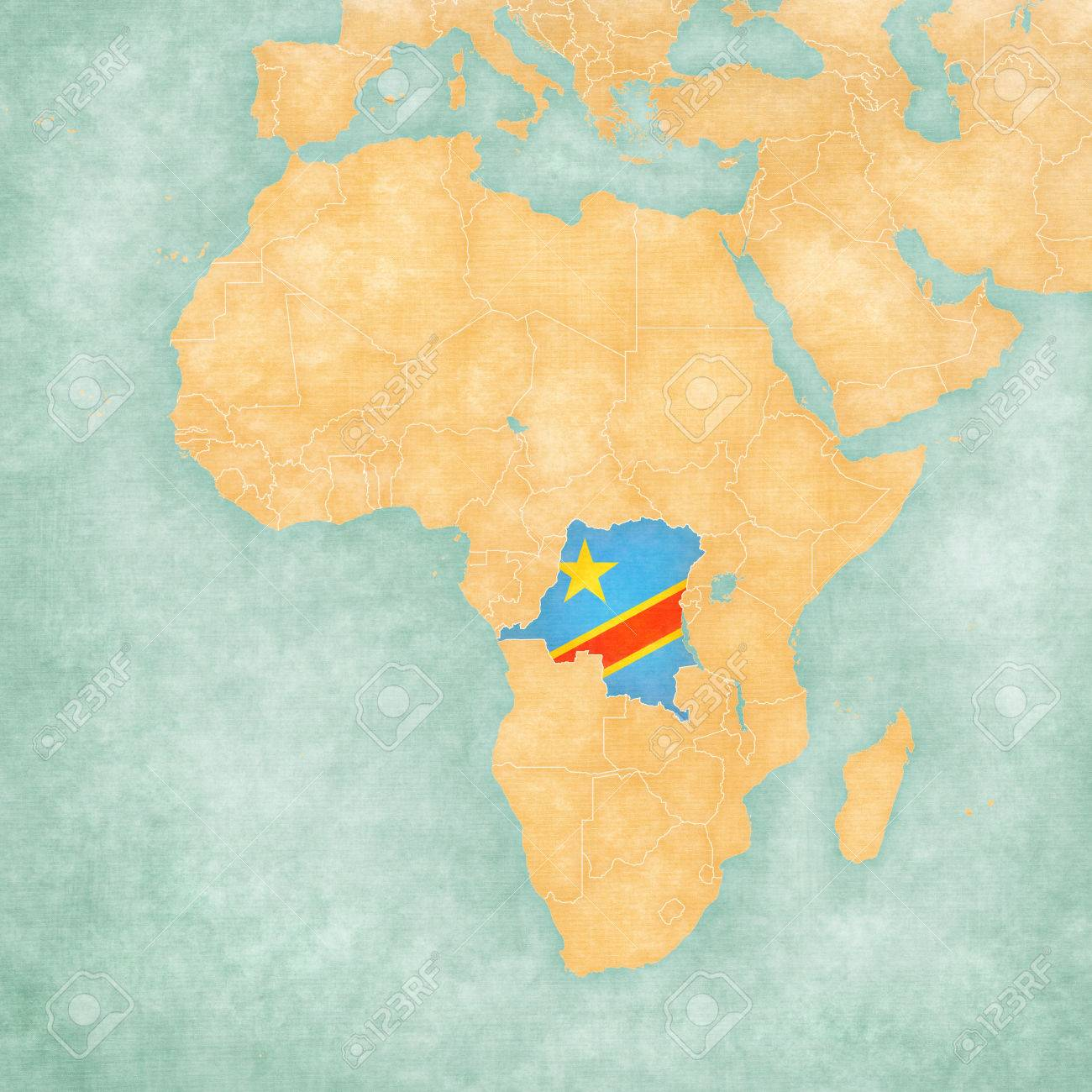 The Democratic Republic of the Congo (Congolese flag) on the